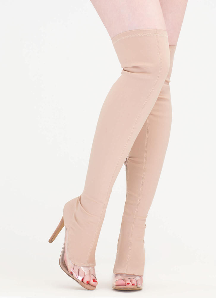 Partly Clear Over-The-Knee Boots TAUPE