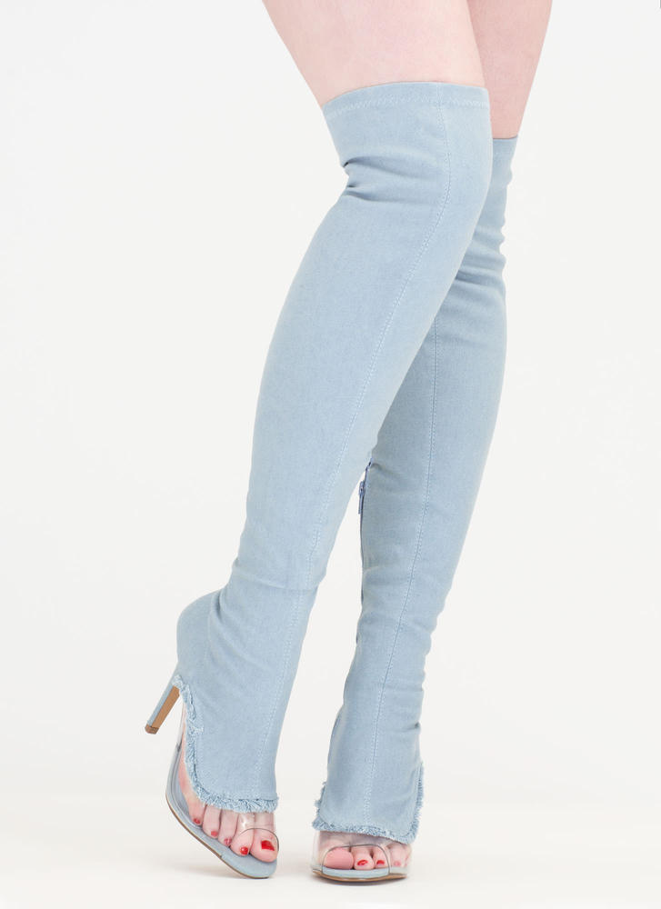 Partly Clear Over-The-Knee Denim Boots BLUE