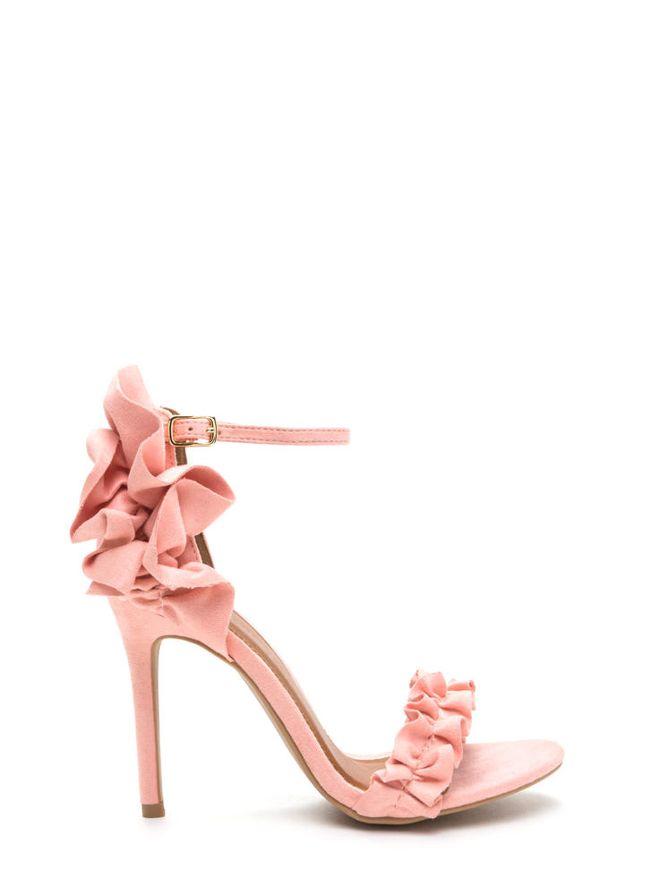 Pretty Please Ruffled Faux Suede Heels PINK