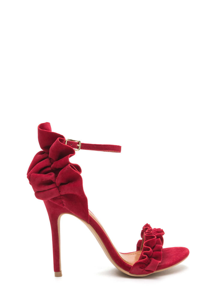 Pretty Please Ruffled Faux Suede Heels RED