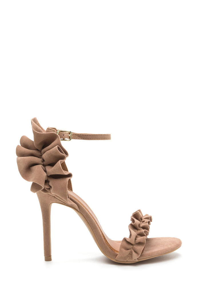 Pretty Please Ruffled Faux Suede Heels TAUPE