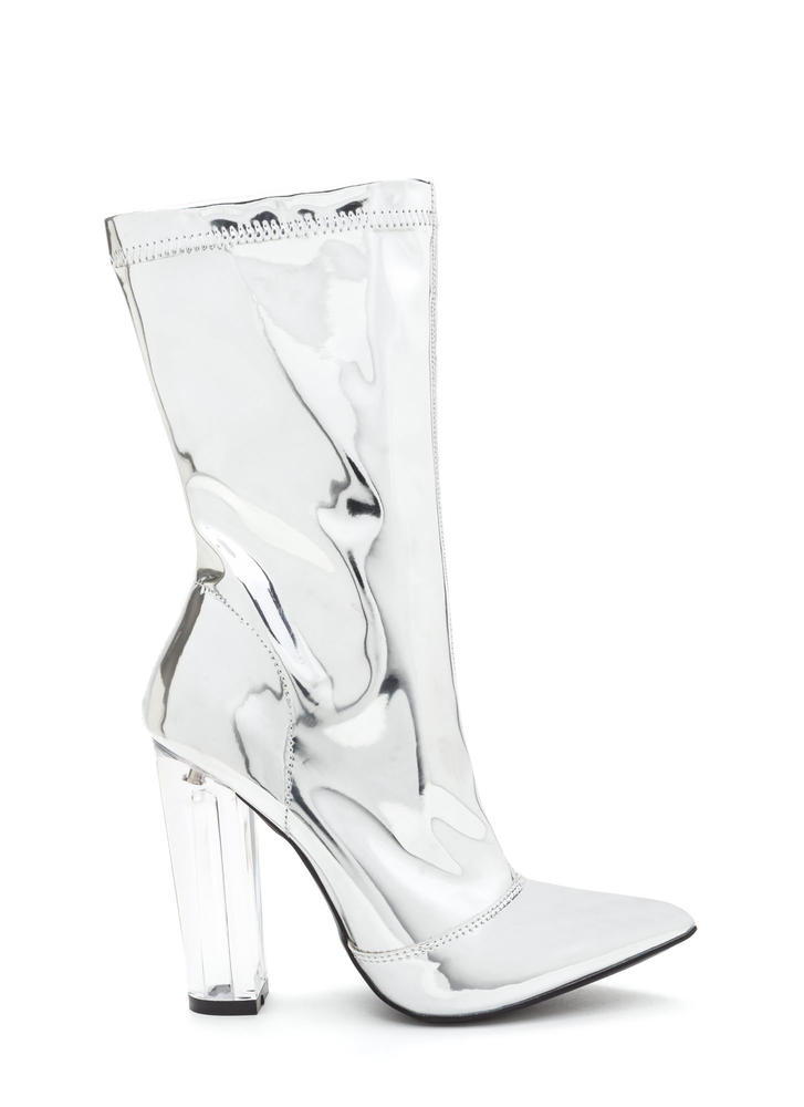 Pedal To The Metal Clear Chunky Boots SILVER