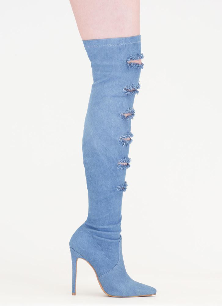 One Slit Wonder Denim Thigh-High Boots BLUE