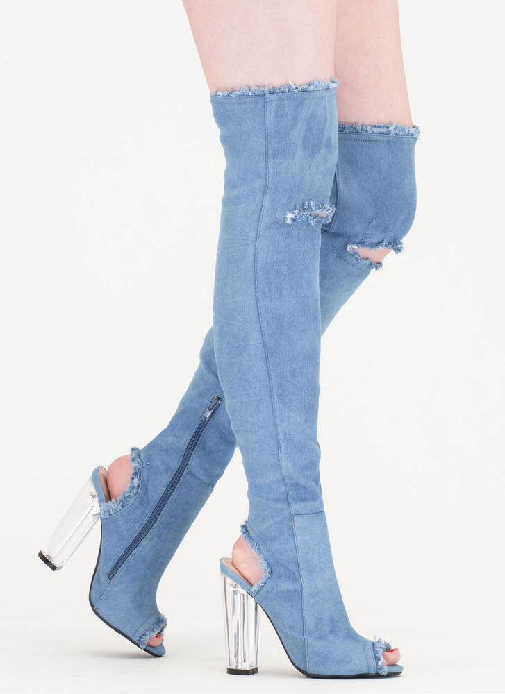 Clear Idea Chunky Denim Thigh-High Boots BLUE - GoJane.com