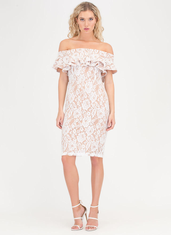 Lace Go Ruffled Off-Shoulder Dress WHITETAUPE