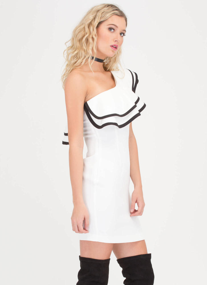 Party Of One Ruffled One-Shoulder Dress WHITE (Final Sale)