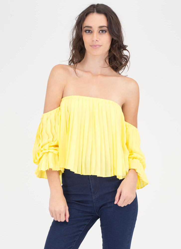 Pleats Believe Me Off-Shoulder Top