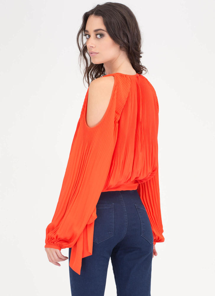 Everyday Chic Pleated Cold Shoulder Top CORAL