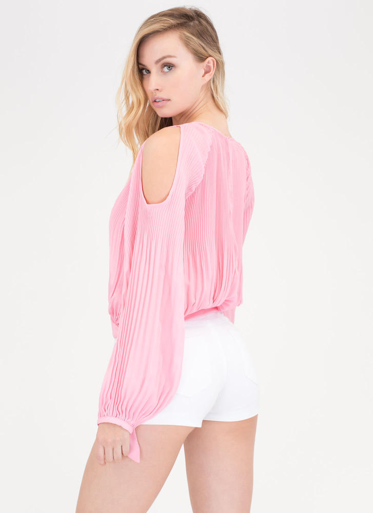 Everyday Chic Pleated Cold Shoulder Top PINK