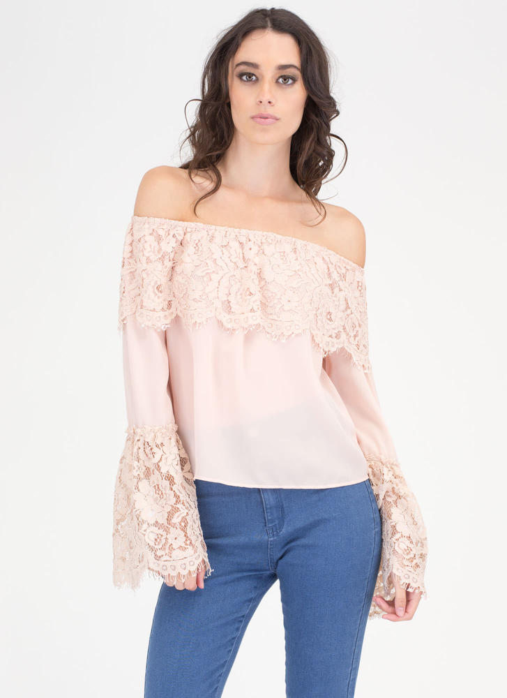 Lucky Lace Off-Shoulder Bell Sleeve Top