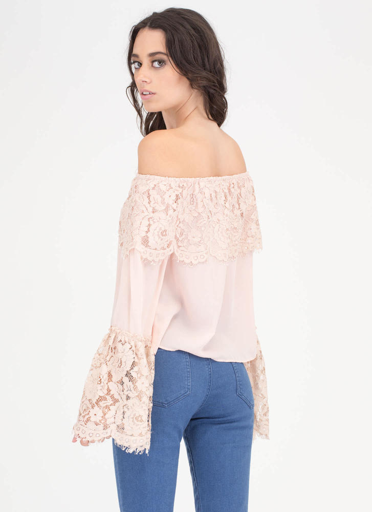 Lucky Lace Off-Shoulder Bell Sleeve Top TAUPE