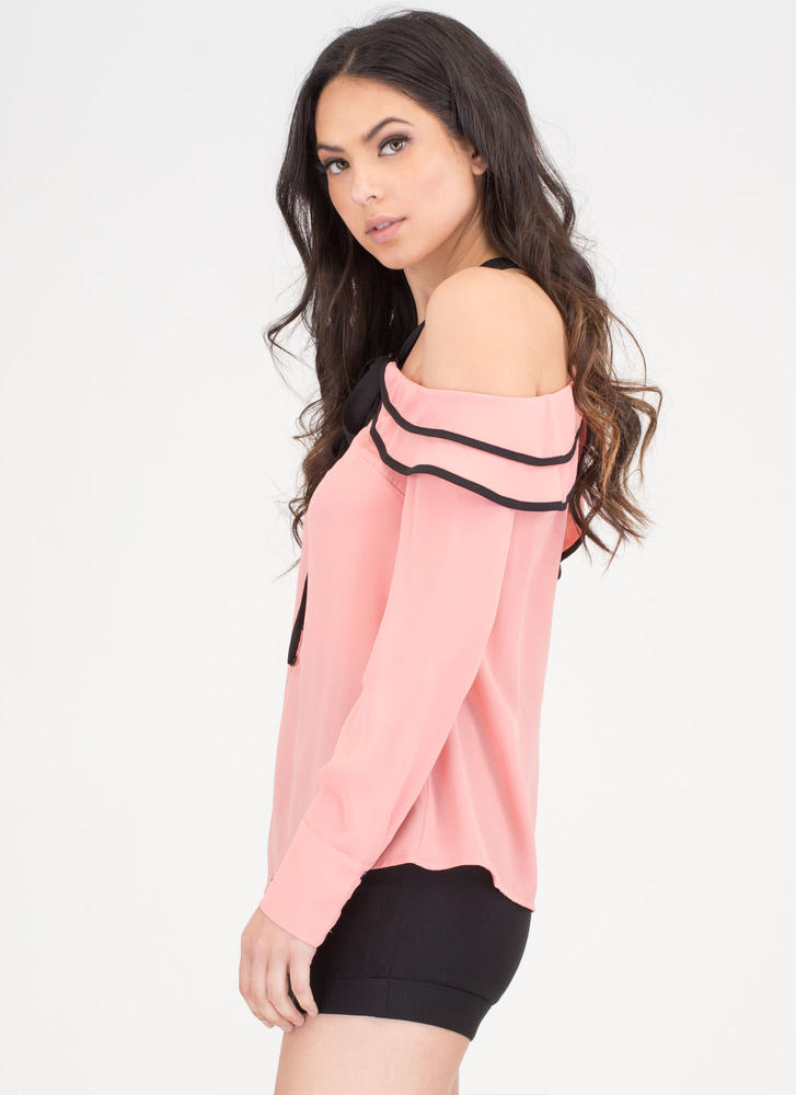 Chic Inspiration Tied Off-Shoulder Top SALMON