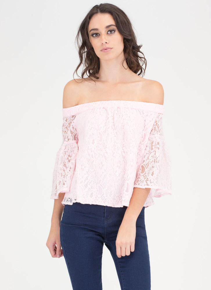 Que Bell-a Floral Lace Off-Shoulder Top