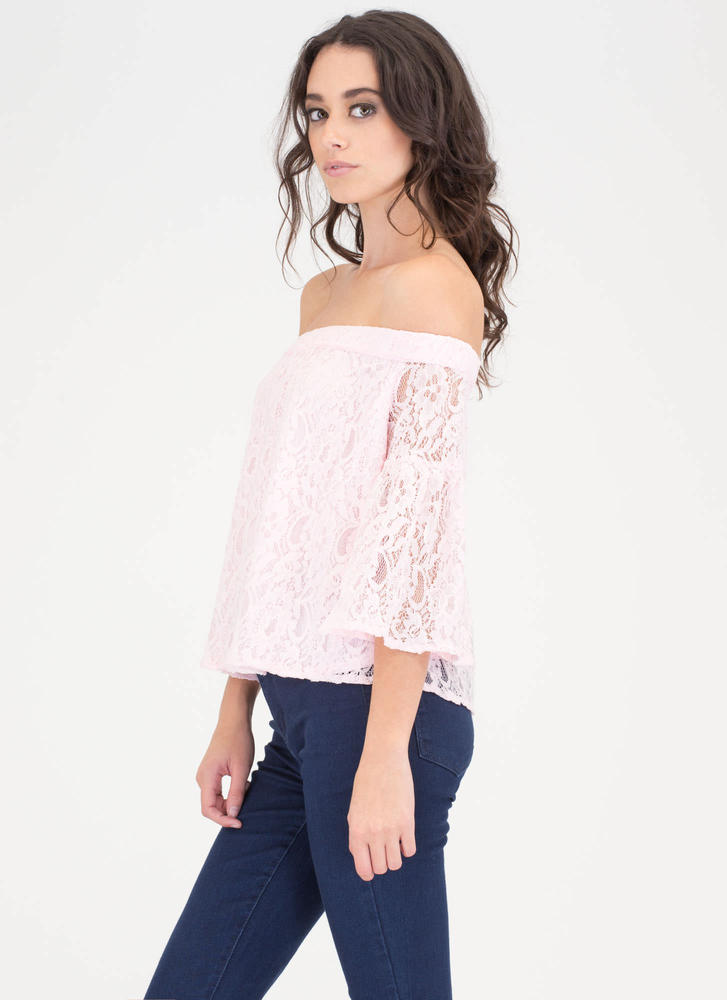 Que Bell-a Floral Lace Off-Shoulder Top PINK