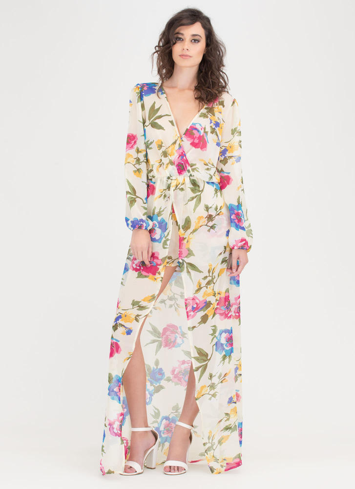 Flower Of Need Sheer Plunging Maxi