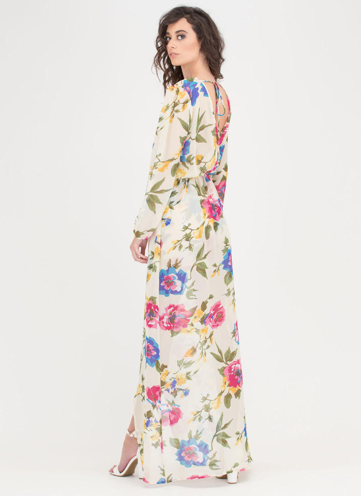 Flower Of Need Sheer Plunging Maxi LTYELLOW