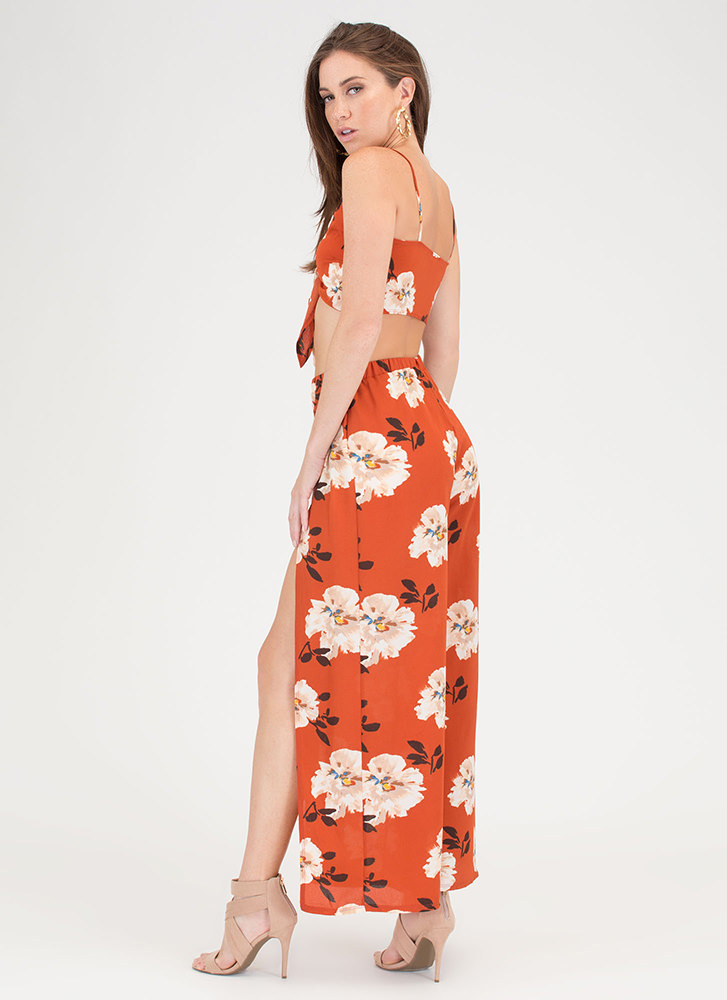Flirty Florals Crop Top 'N Pants Set RUST