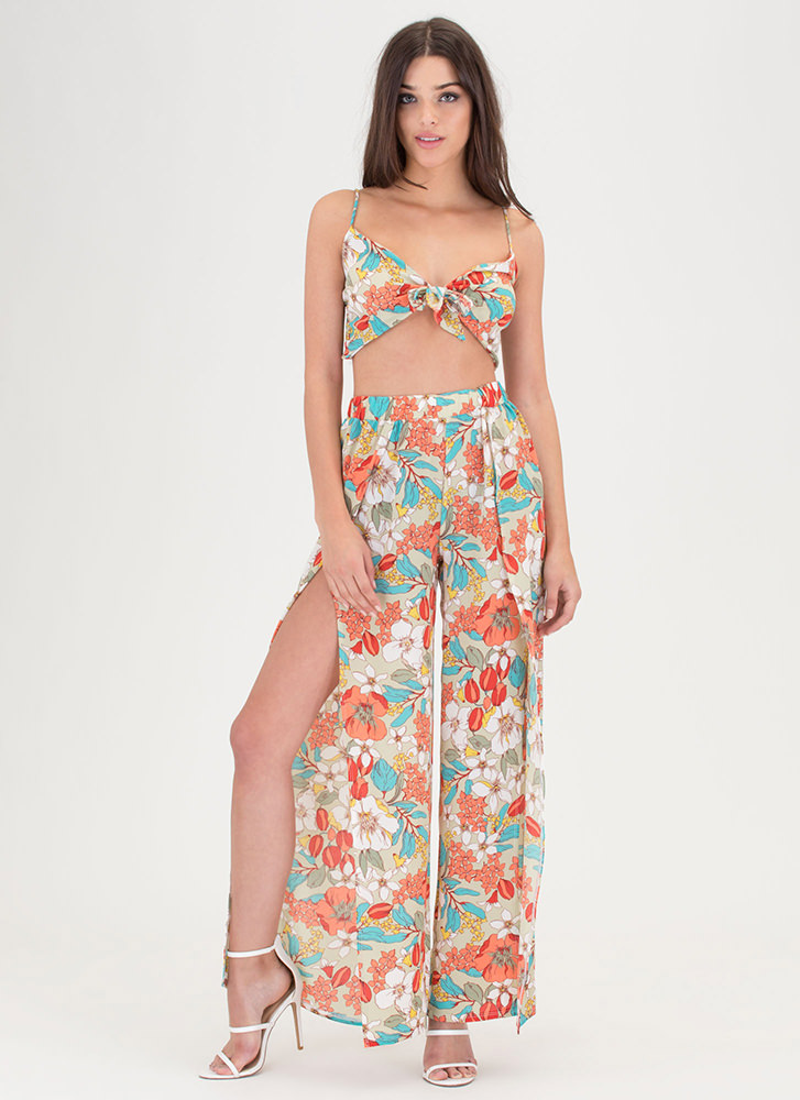 Flirty Florals Crop Top 'N Pants Set SAGE
