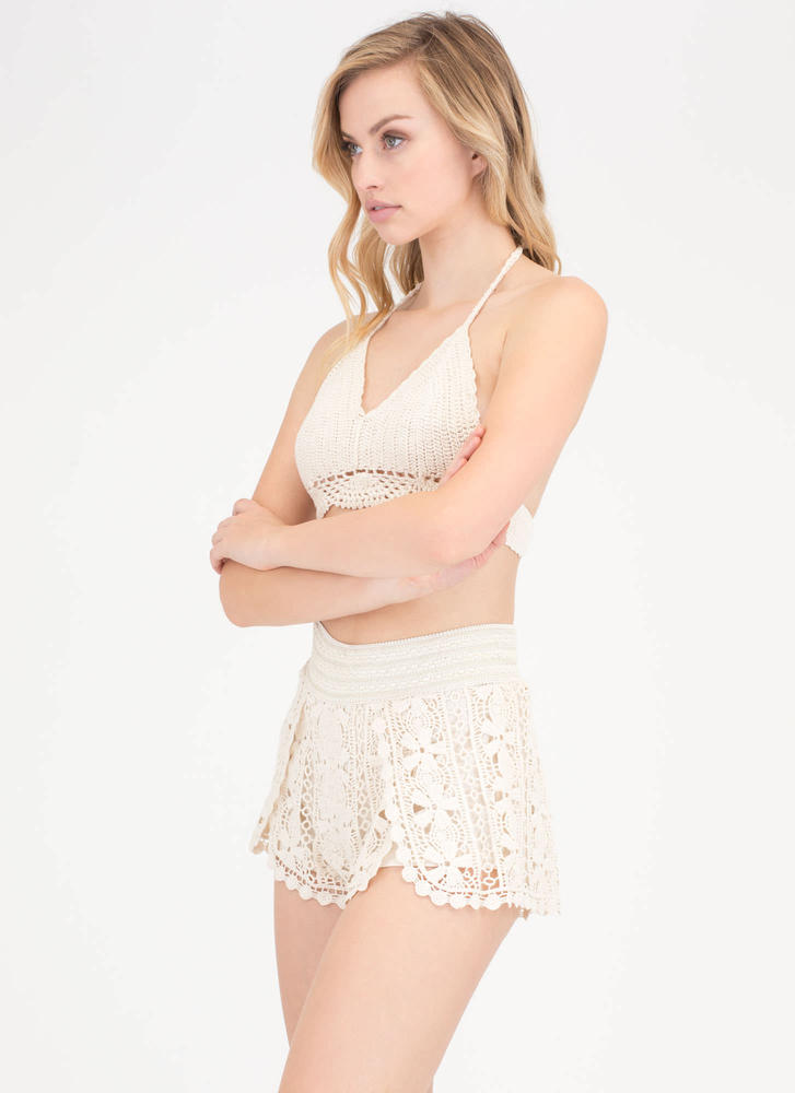 Festival Story Floral Crochet Shorts NATURAL