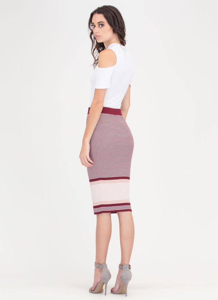 Stripe For Your Life Knit Midi Skirt WINEMAUVE