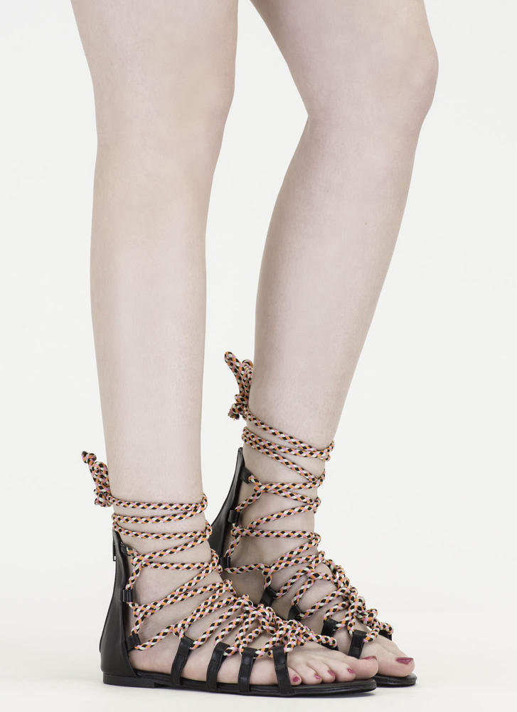 Caught In A Web Lace-Up Sandals