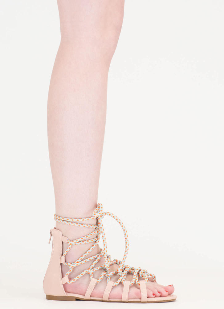 Caught In A Web Lace-Up Sandals NUDE