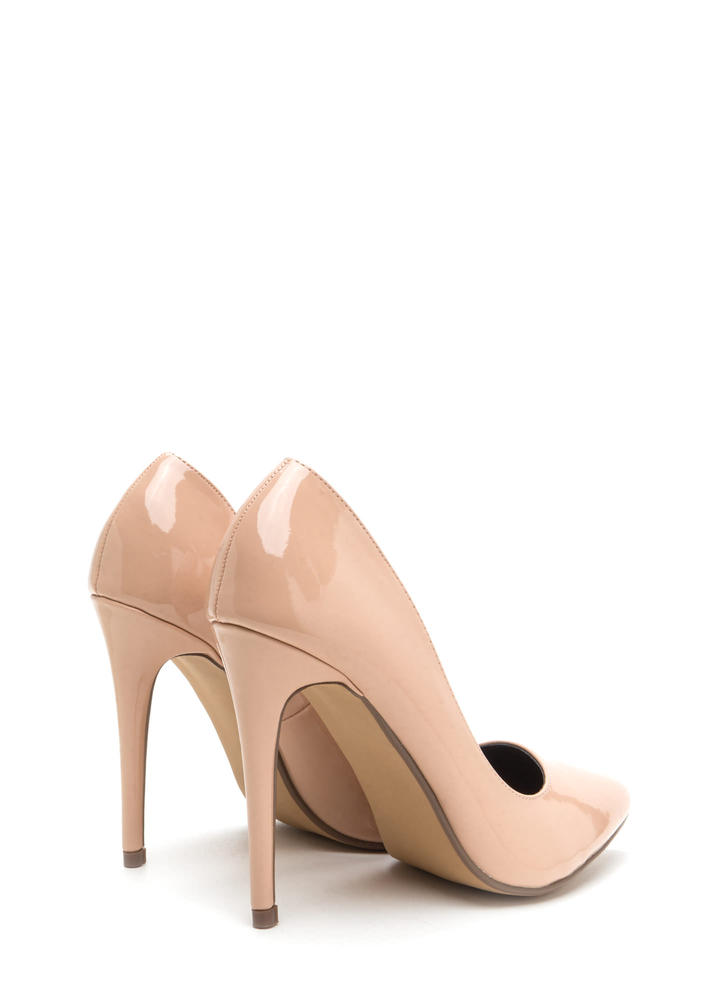 That's A Great Point Faux Patent Pumps NUDE