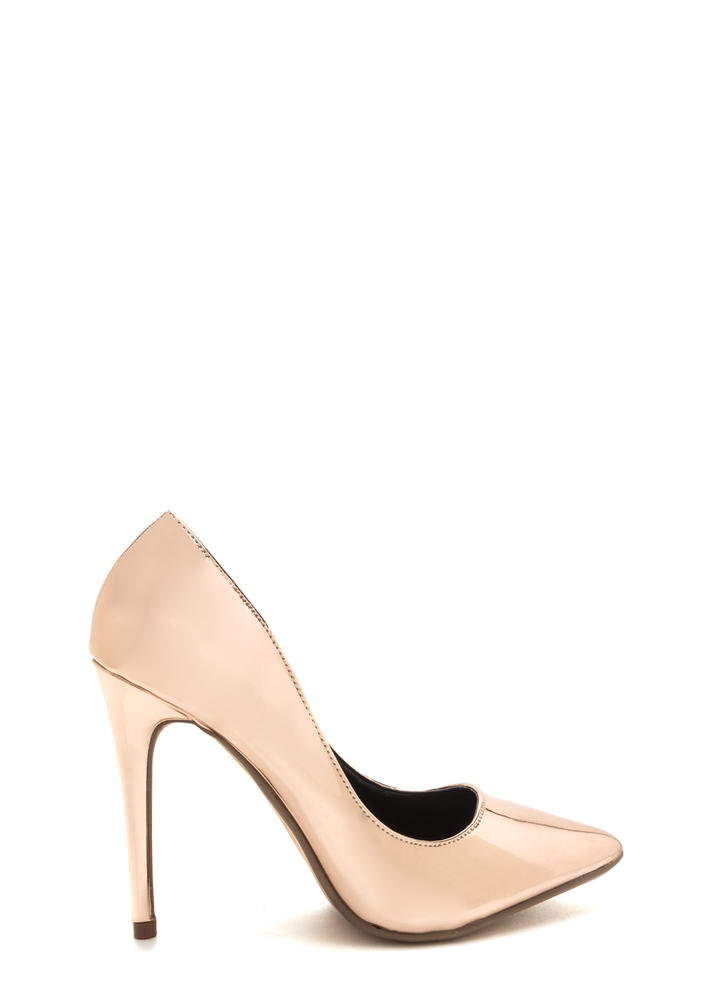 That's A Great Point Metallic Pumps ROSEGOLD