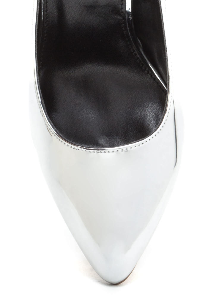That's A Great Point Metallic Pumps SILVER