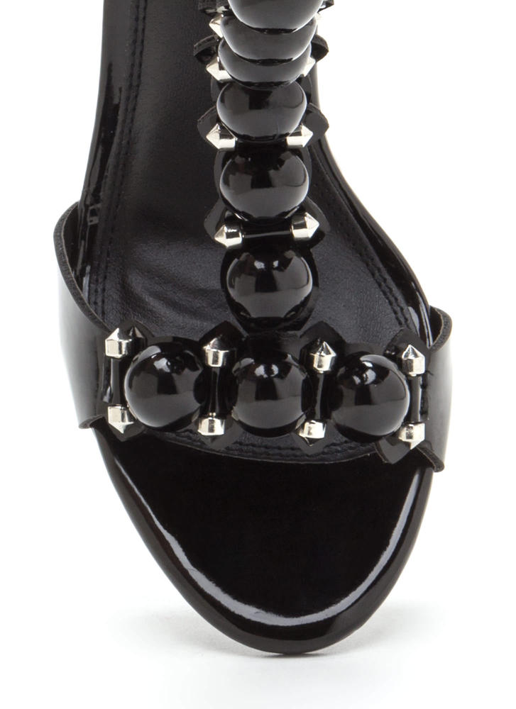 Welcome Dome Studded T-Strap Heels BLACK