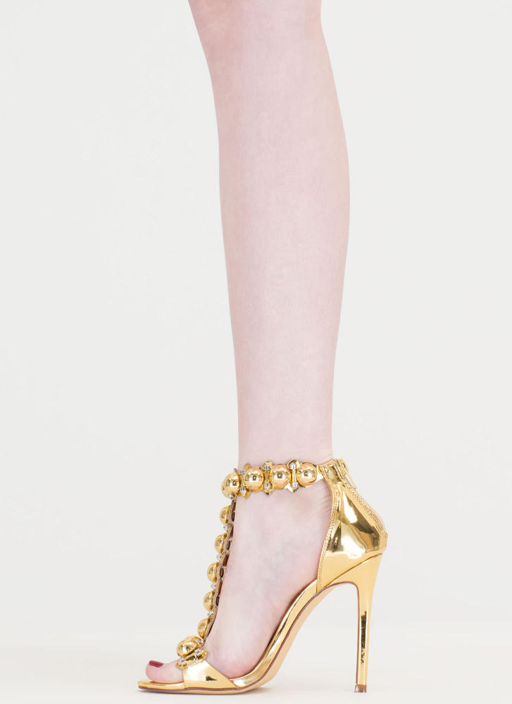 Welcome Dome Studded Metallic Heels GOLD