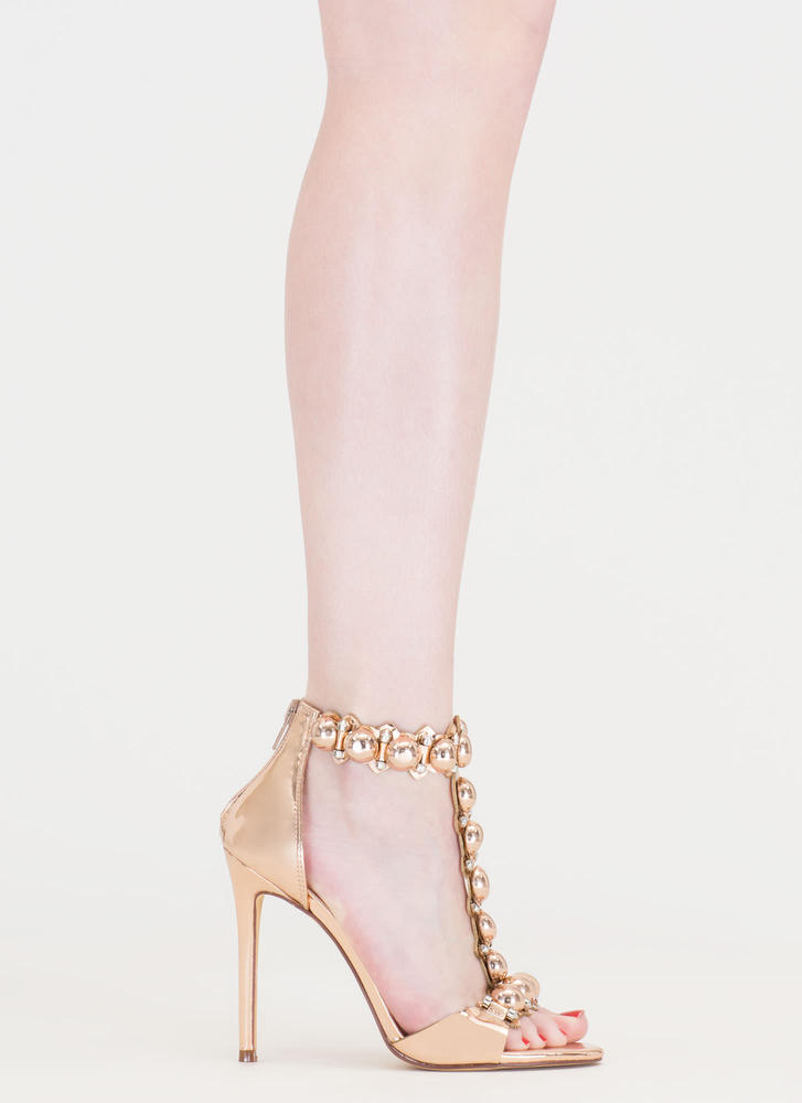 Welcome Dome Studded Metallic Heels ROSEGOLD