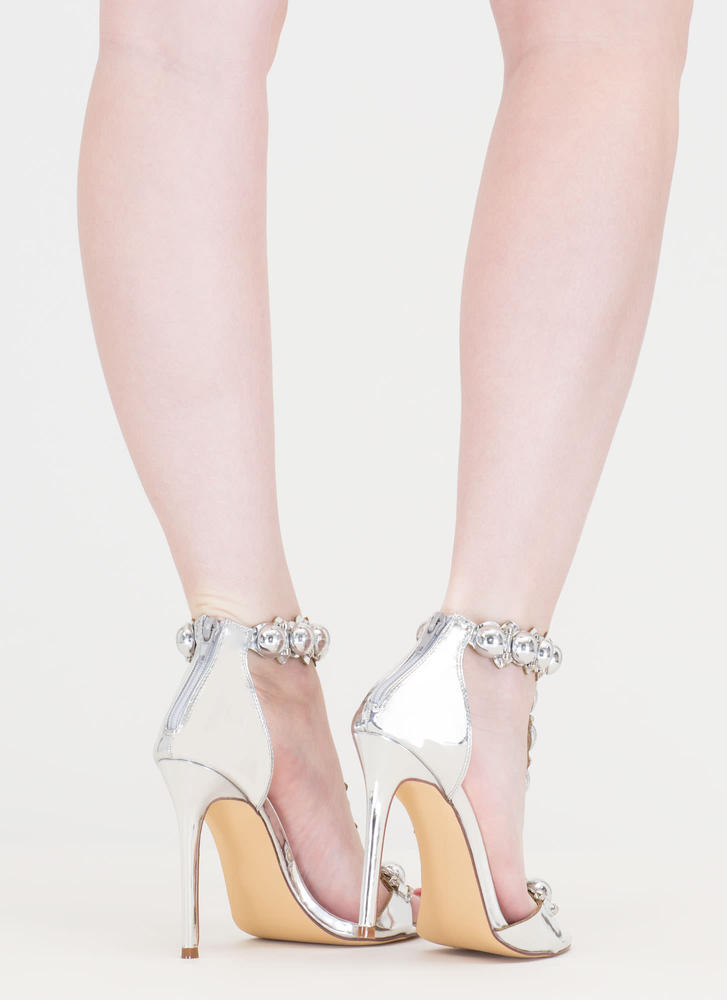 Welcome Dome Studded Metallic Heels SILVER