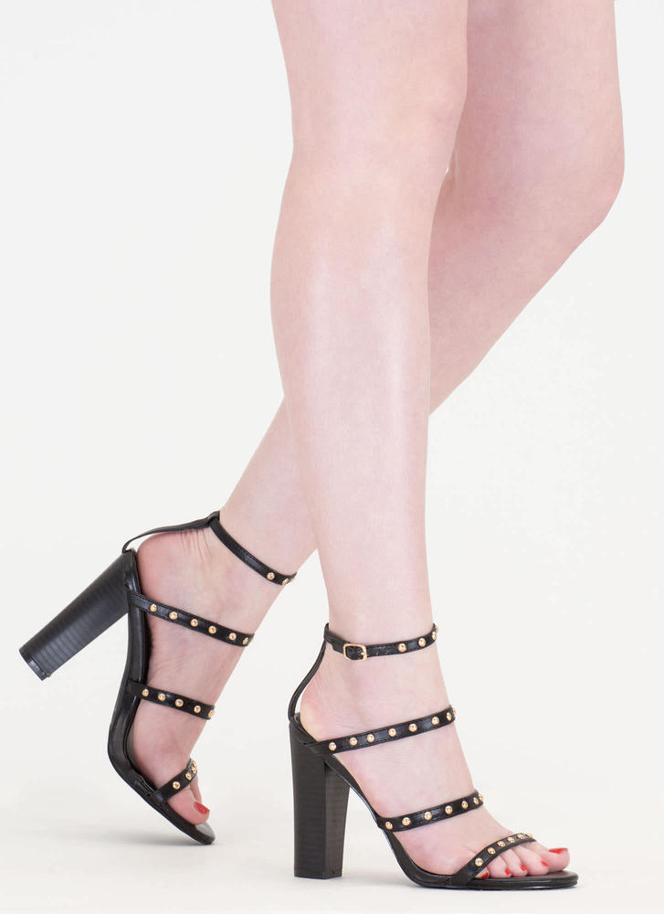 Four-ever Studded Strappy Chunky Heels BLACK