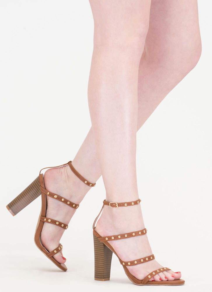 Four-ever Studded Strappy Chunky Heels COGNAC