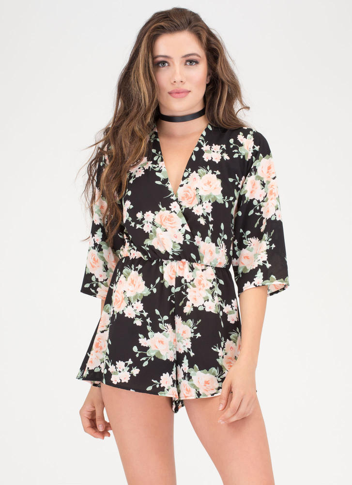 Fresh Flowers Plunging T-Strap Romper