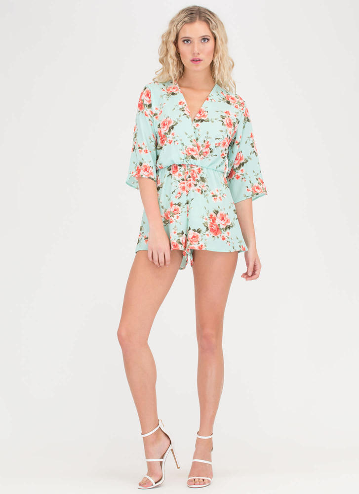 Fresh Flowers Plunging T-Strap Romper MINT