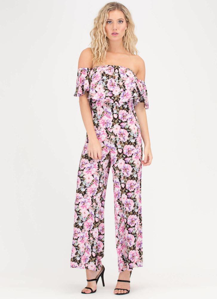 90s Blossom Off-Shoulder Jumpsuit