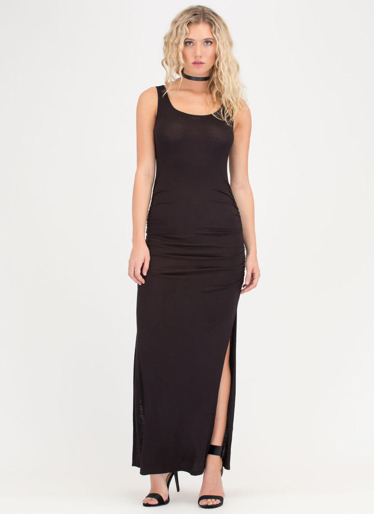 Ruche Out Double-Slit Maxi Dress BLACK