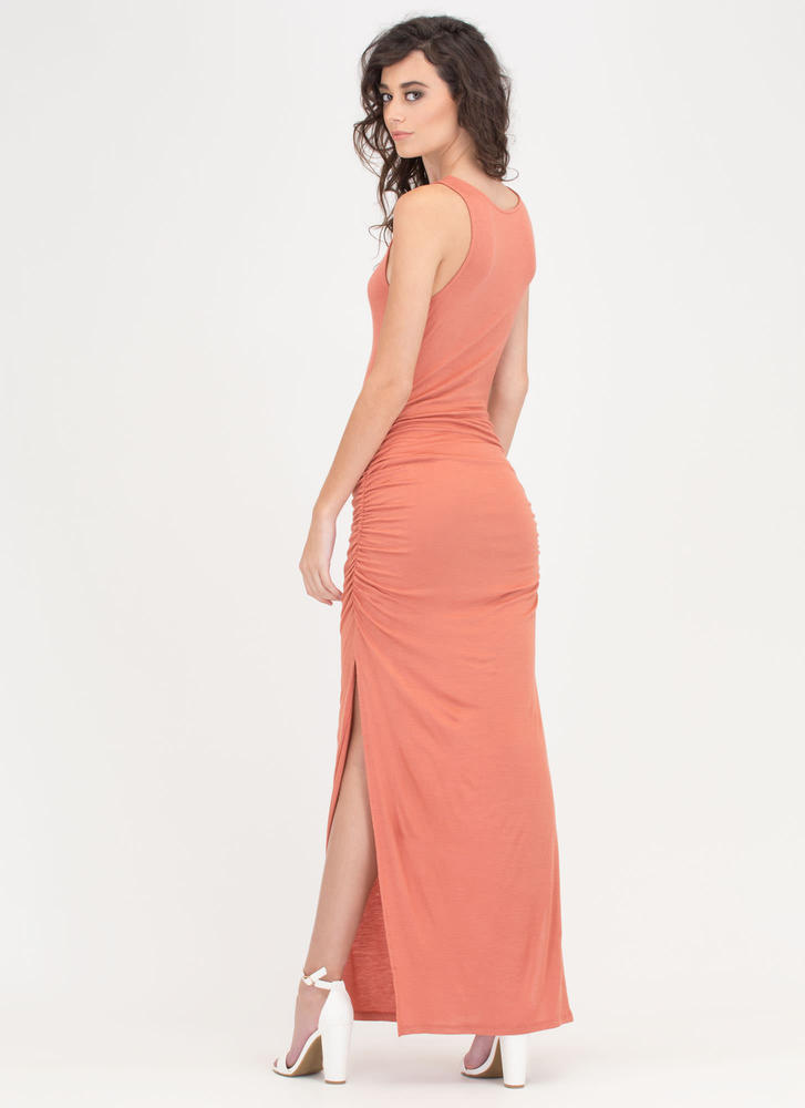 Ruche Out Double-Slit Maxi Dress SALMON