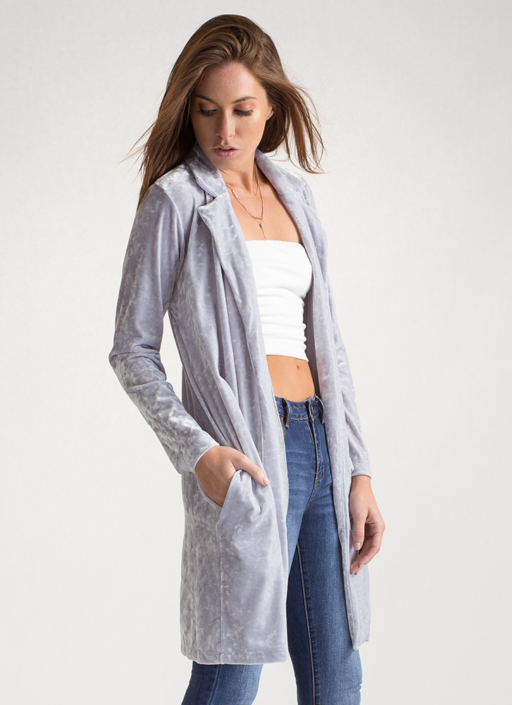 Crushed The Competition Velvet Duster GREY