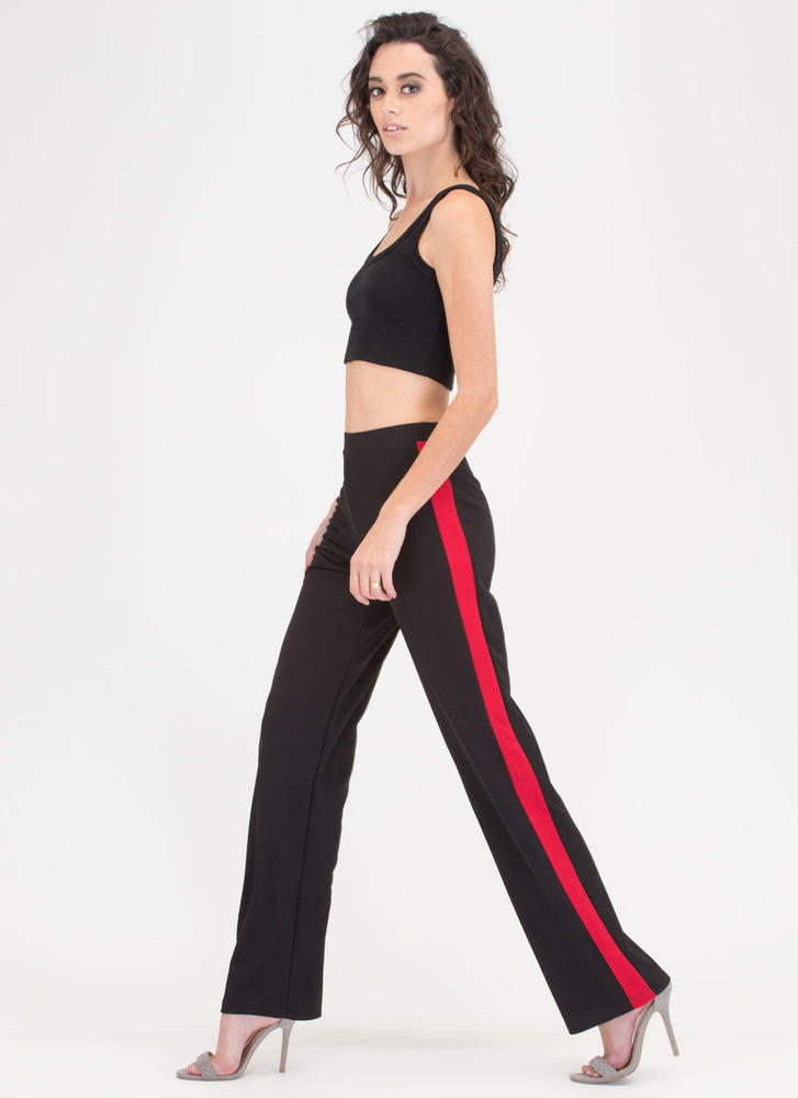 Double Trouble Striped Palazzo Pants BLACK