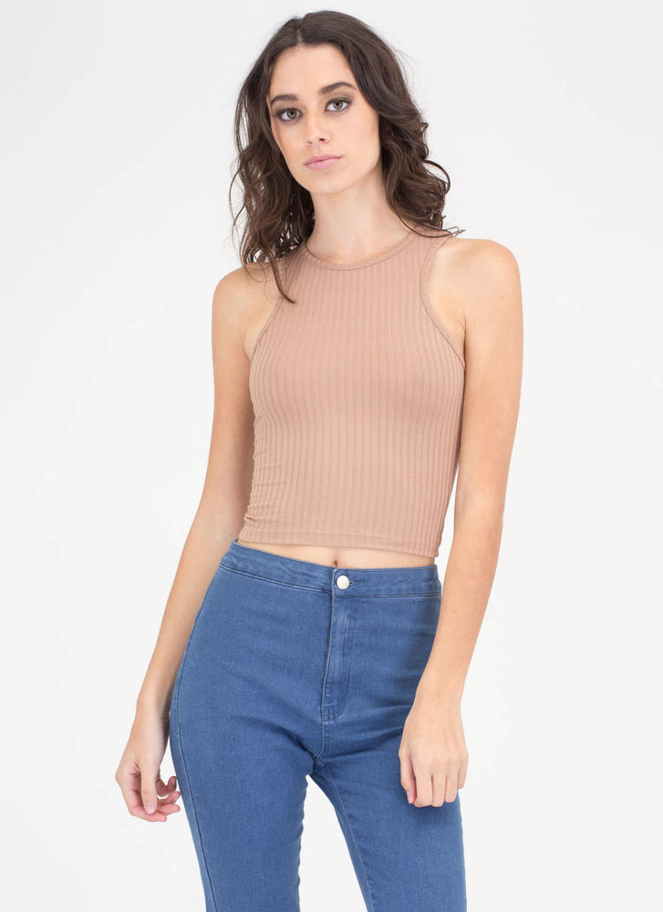 Ribbed Right Knit Cropped Tank Top MOCHA