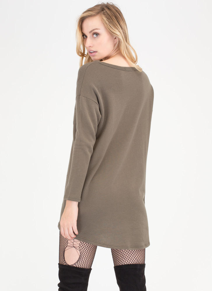 Feeling So Distressed Plunging Sweater OLIVE