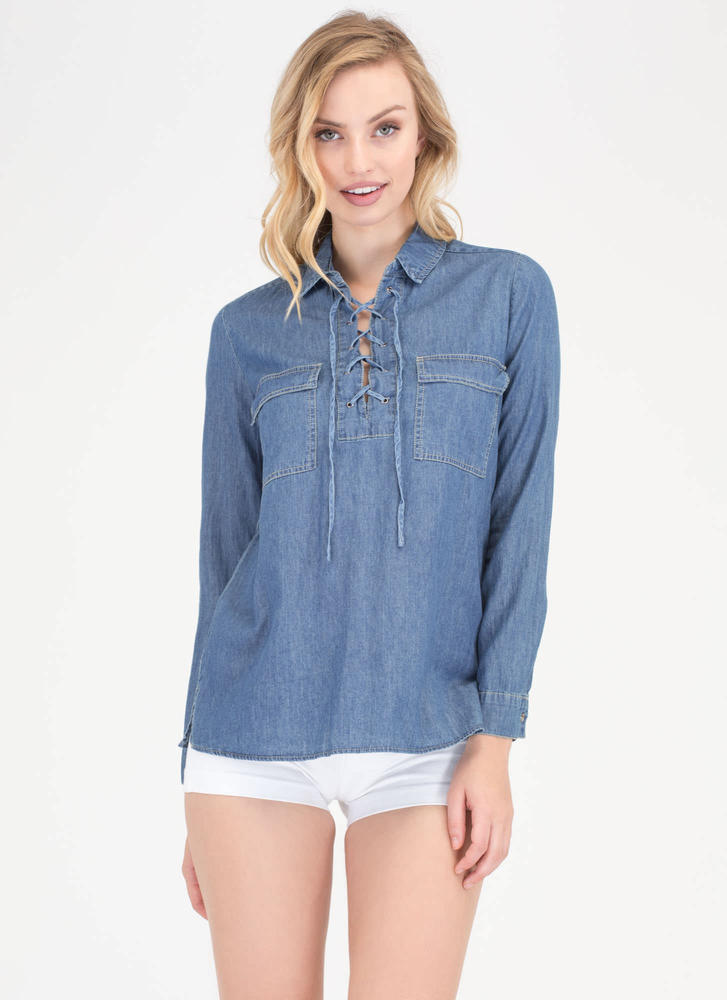 Denim Dream Lace-Up Chambray Shirt DKBLUE