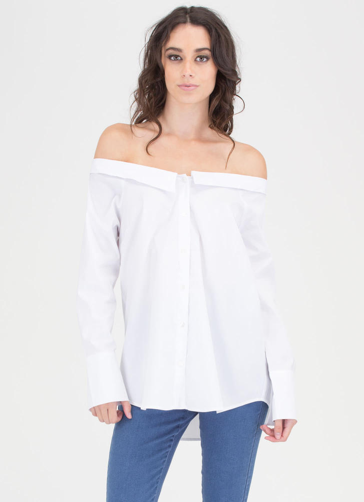 Your Way Off-Shoulder Button-Up Blouse