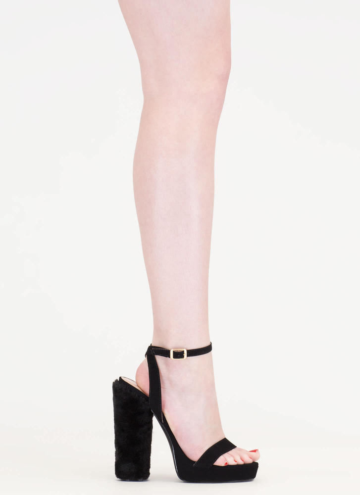 Ask Fur It Chunky Faux Leather Heels BLACK