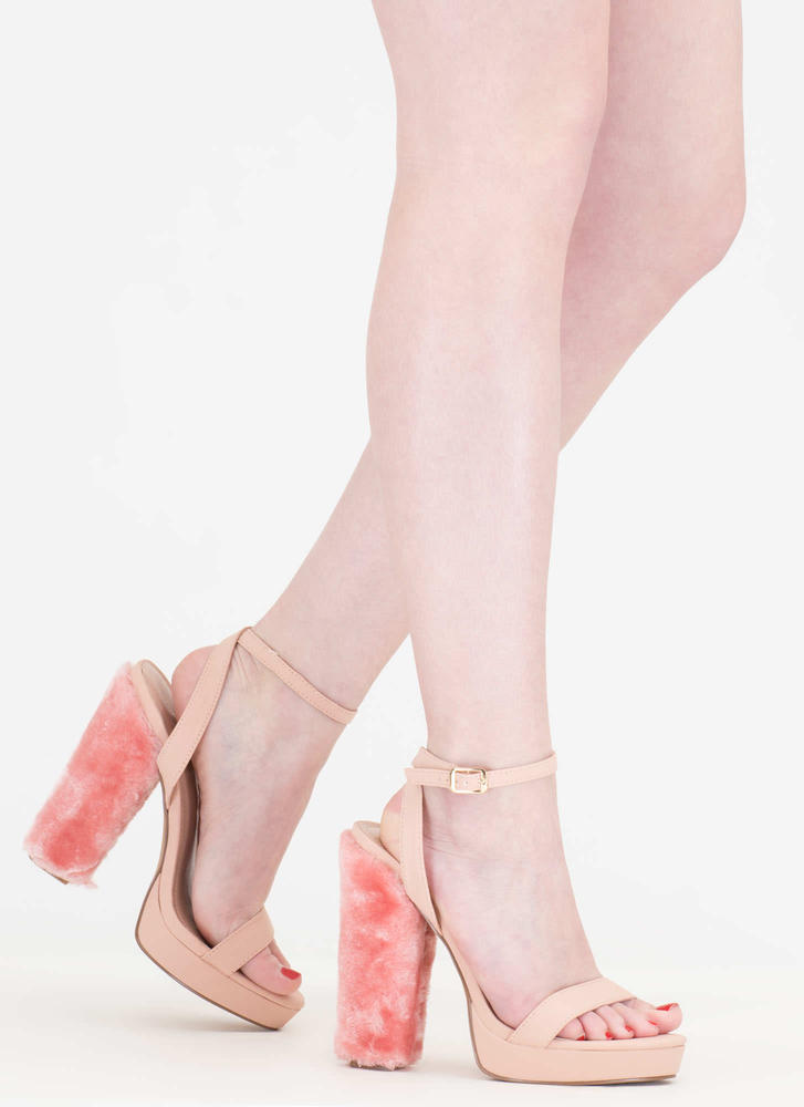Ask Fur It Chunky Faux Leather Heels PINK
