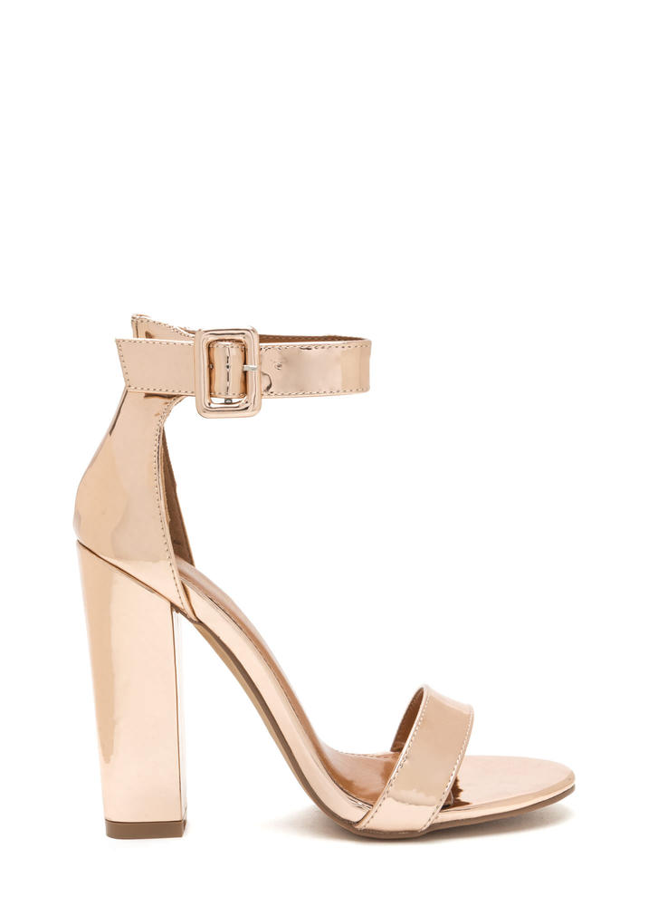 Perfection Chunky Faux Patent Heels