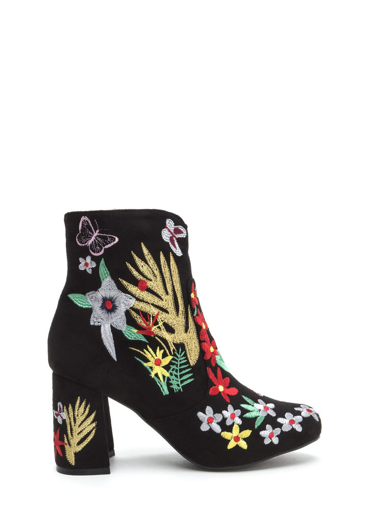 Garden Path Embroidered Chunky Booties BLACK